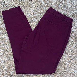 Maroon Skinny Leg Dress Pants - Exact Stretch